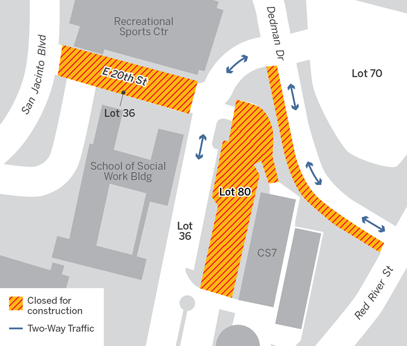 map of construction closures on Dedman, 20th St, and Lot 80