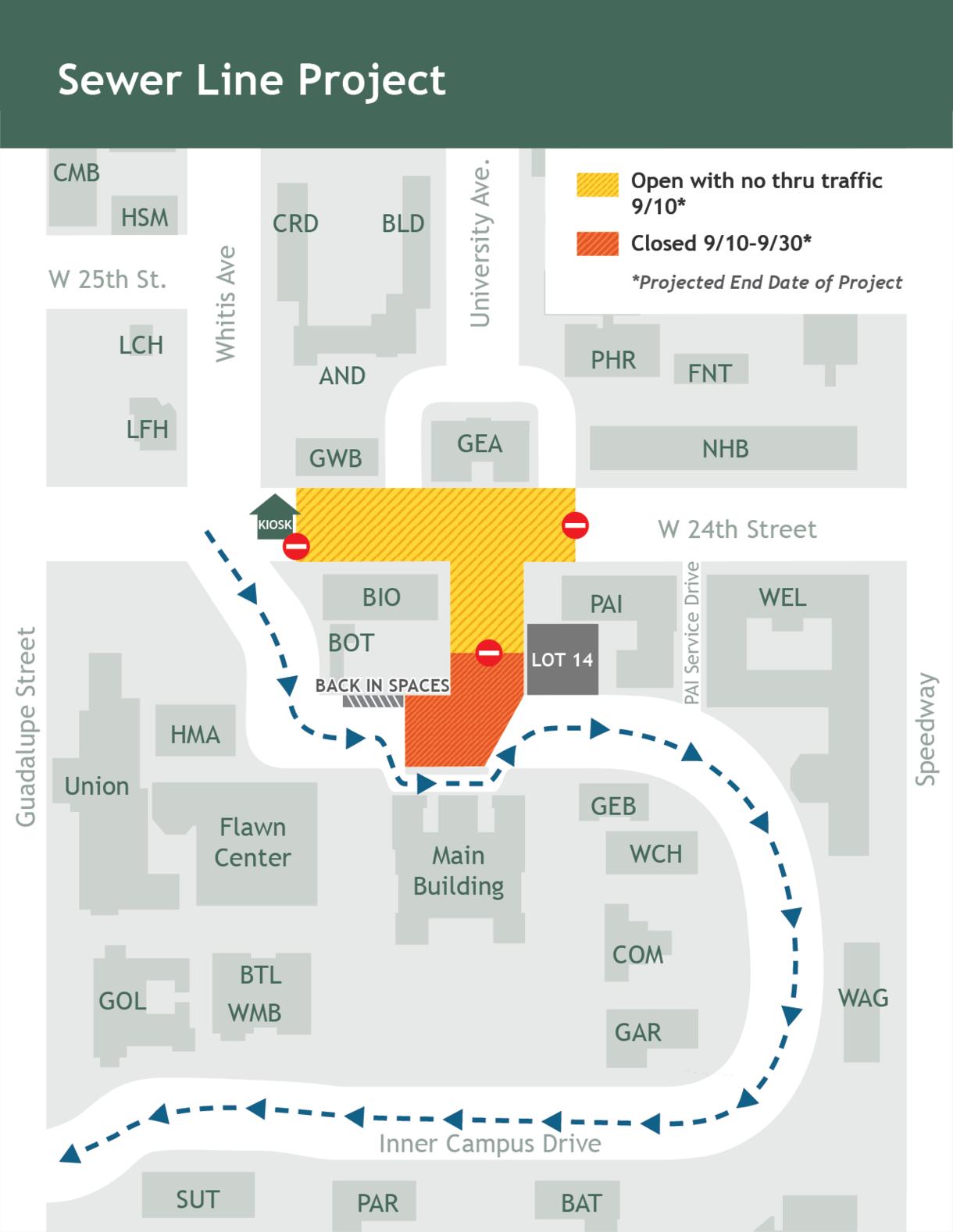 Map of area around Main Building