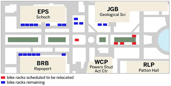 Map of East Mall Bike Racks