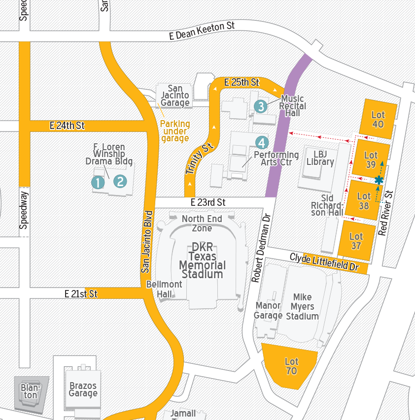 Map of Parking Surrounding Fine Arts Venues