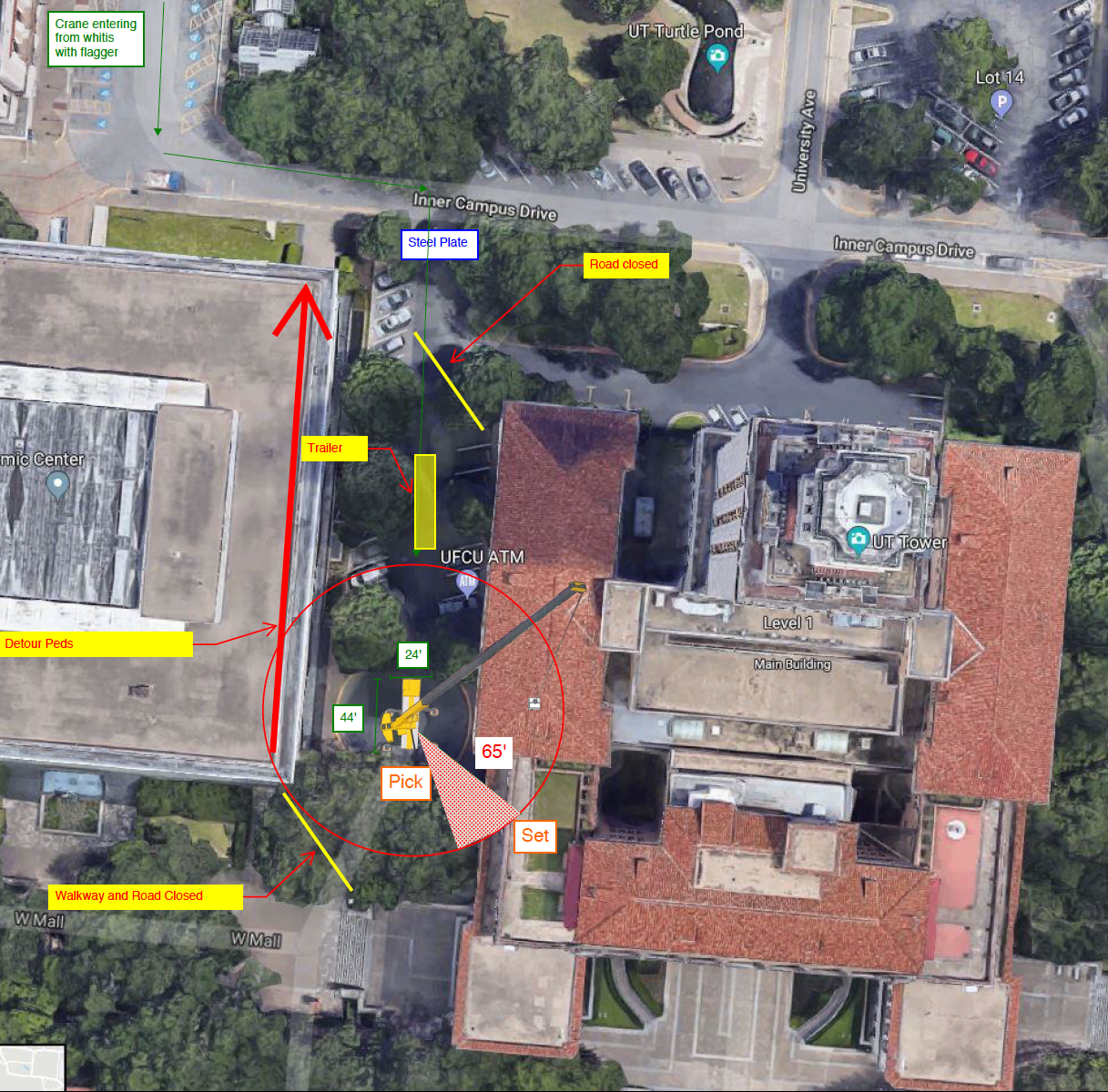 Map of Detours Around Main Building