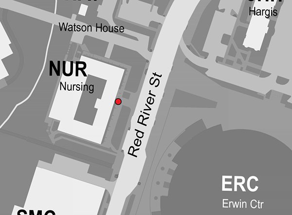 Map of bike rack to be relocated by Nursing School