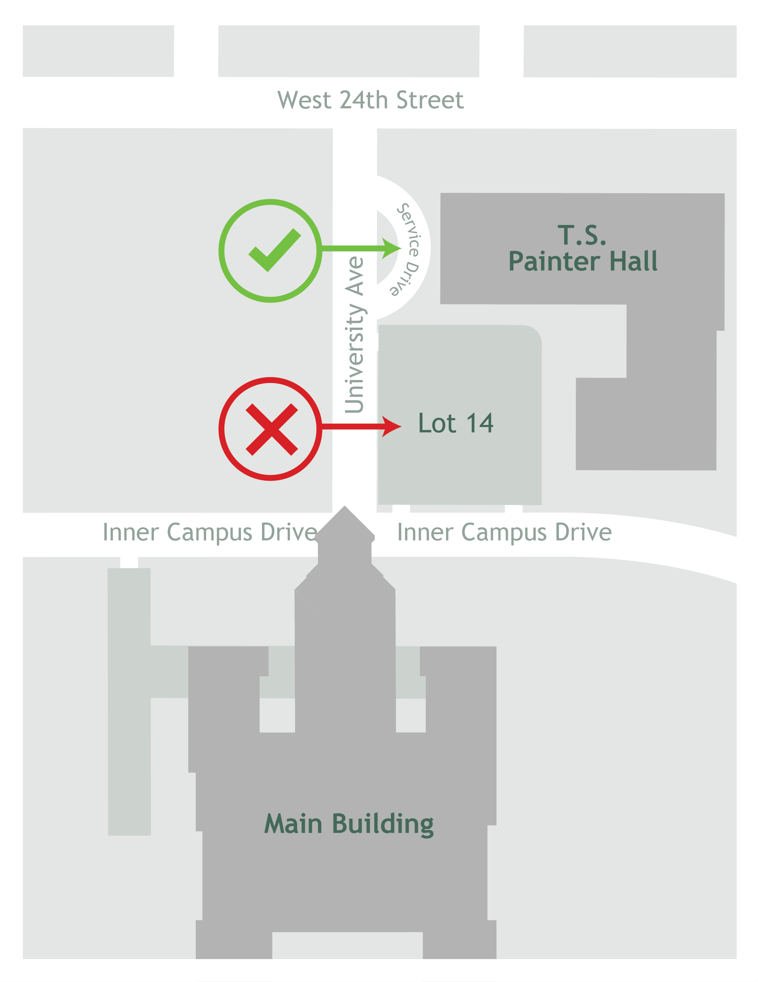 map of Painter Hall service drive