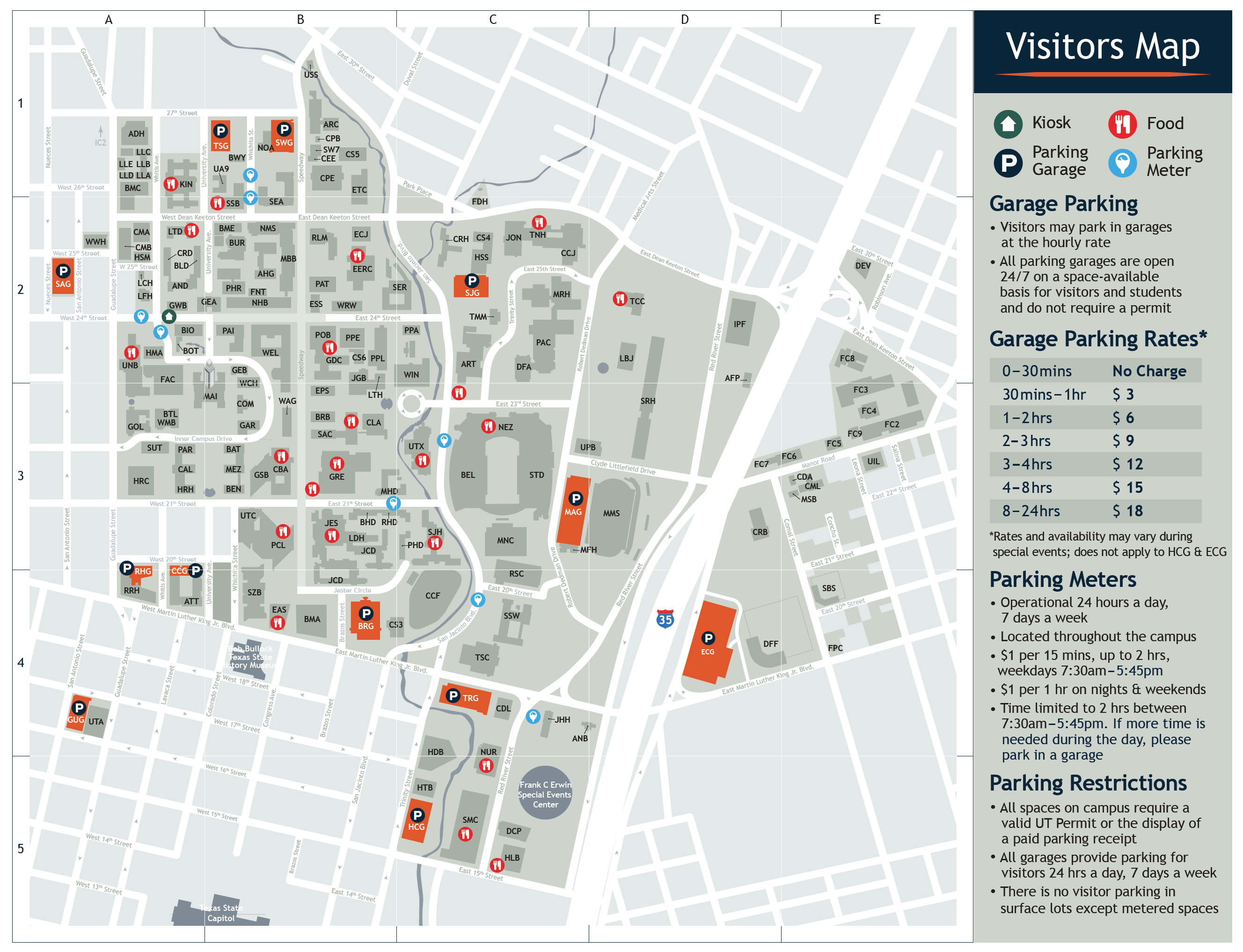 Map Of University Of Texas Austin Visitor's Map | Parking & Transportation | The University of Texas