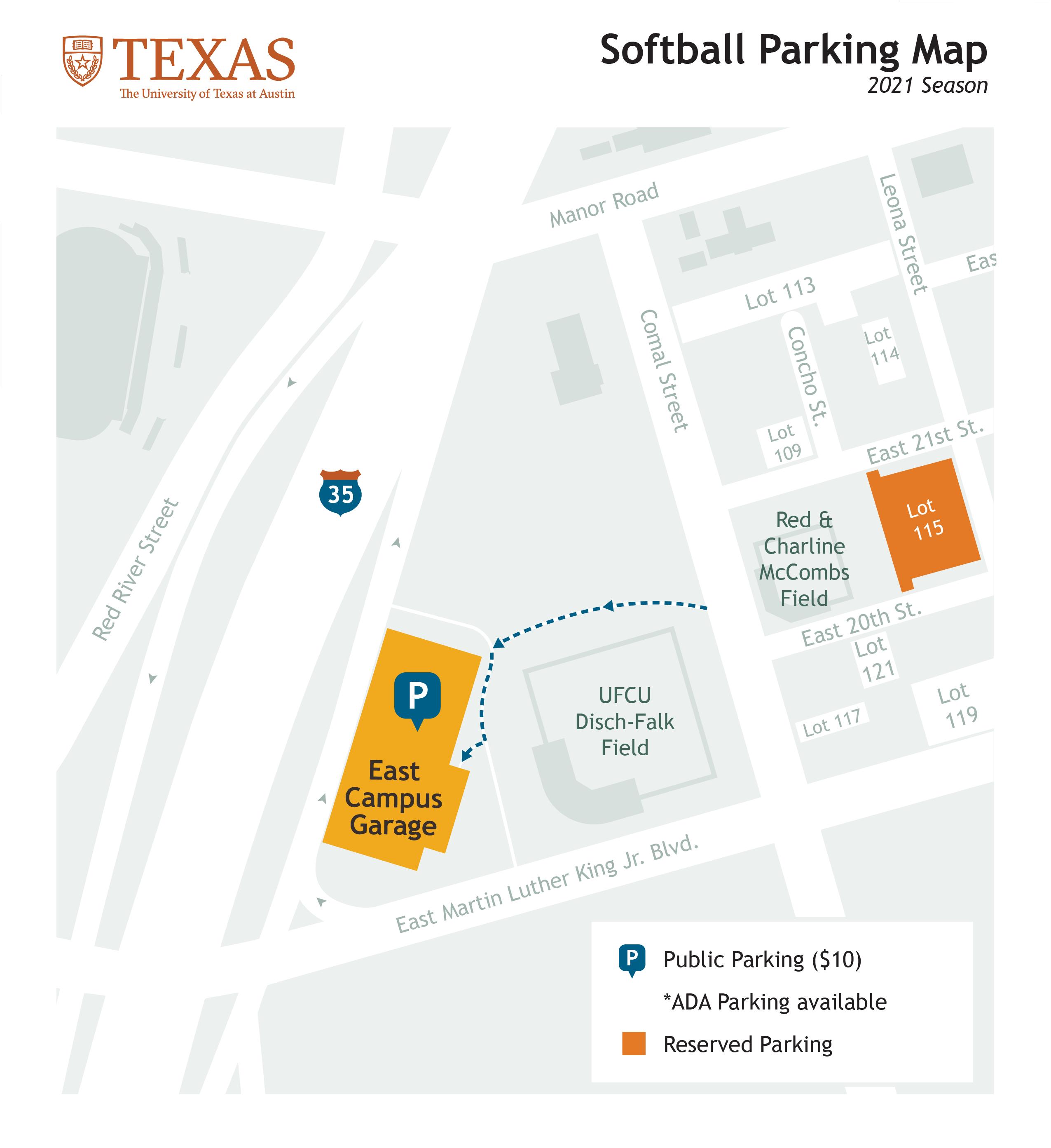 softball parking map 2021