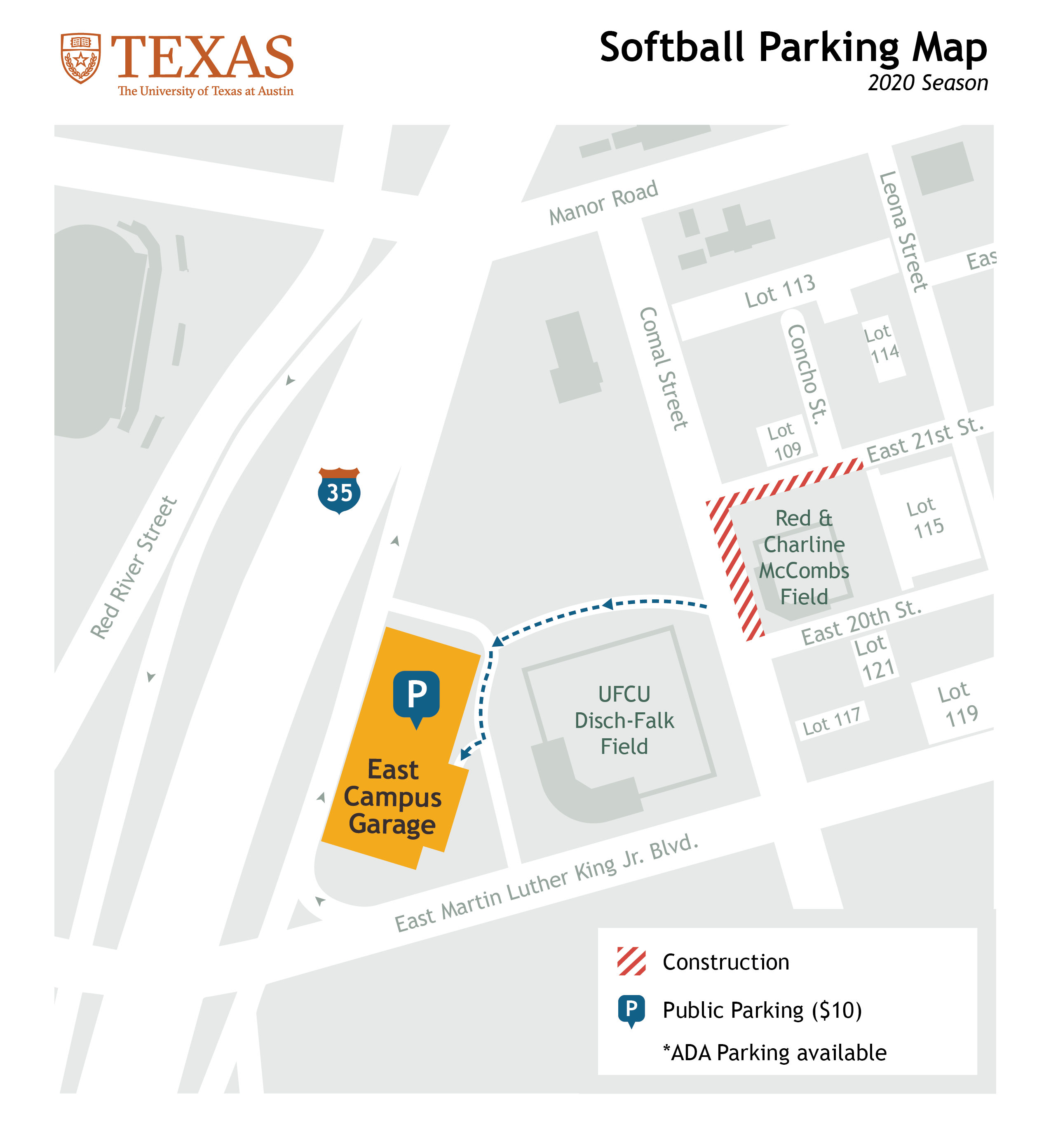softball parking map 2020