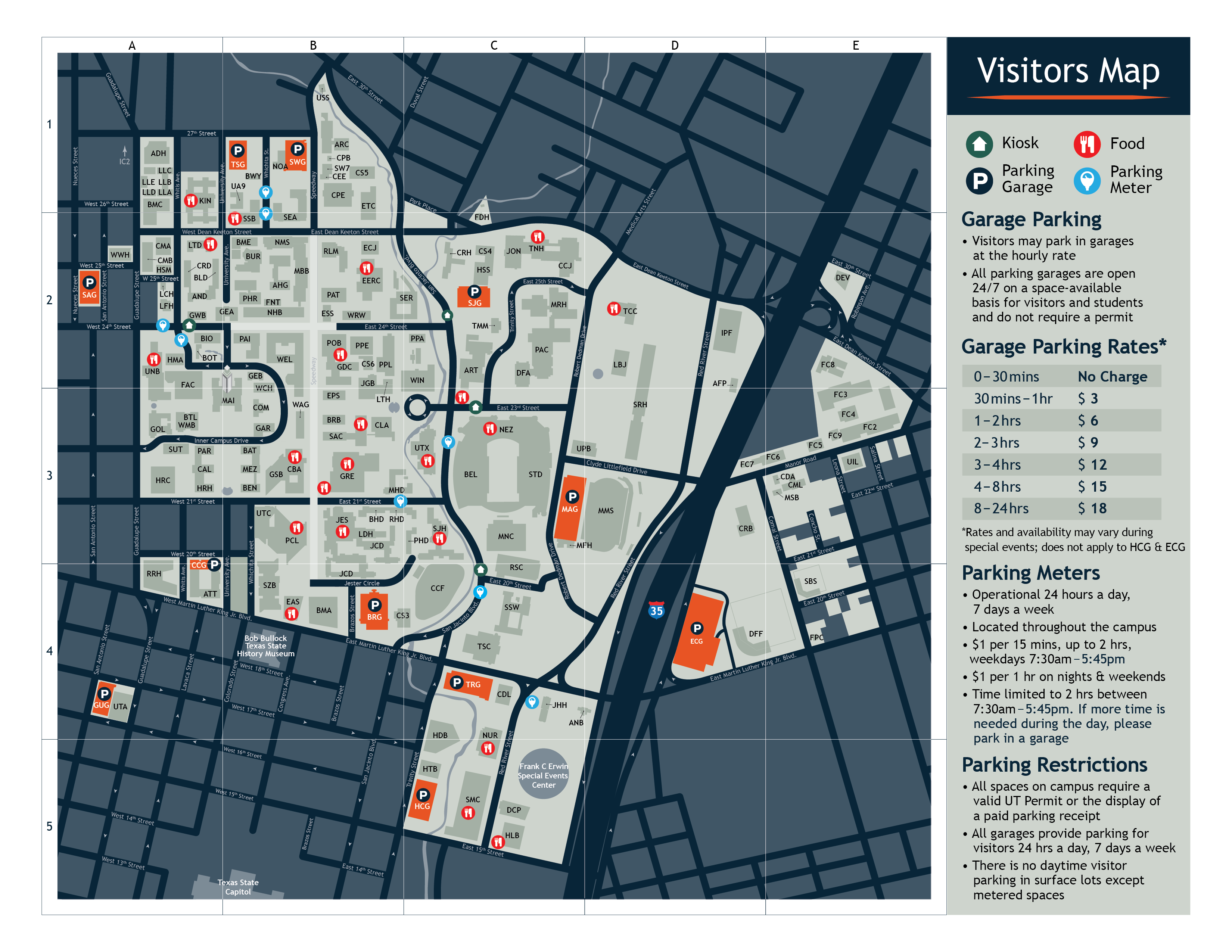 Visitors Map Parking Transportation The University of Texas