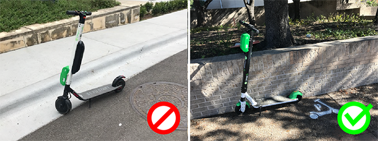 example of bad vs good scooter parking