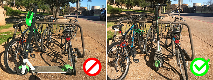 example of how to park scooters near bike racks