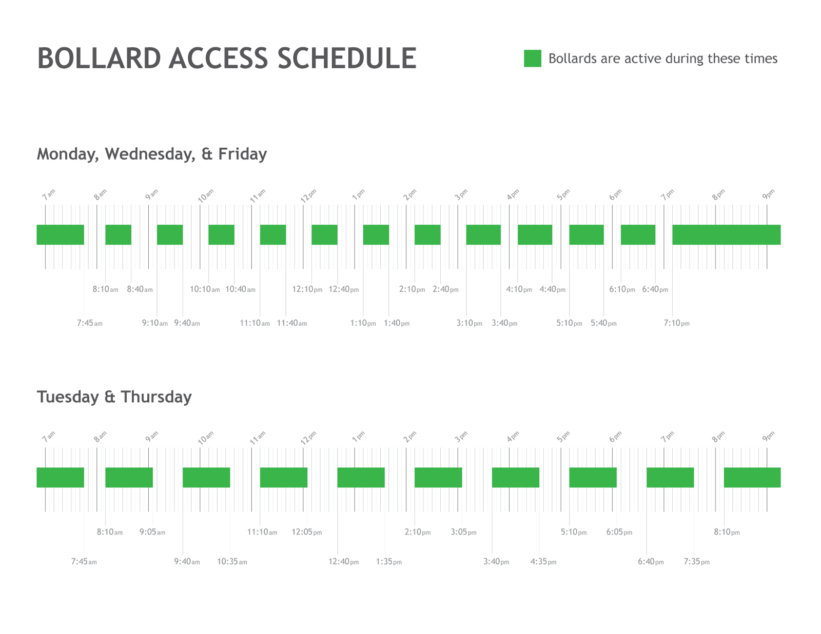 bollards access schedule graphic