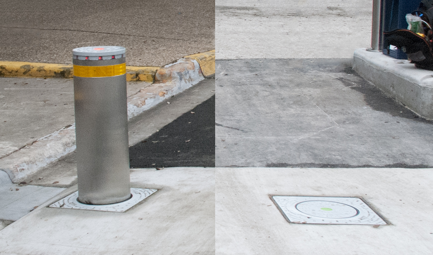bollards raised vs lowered