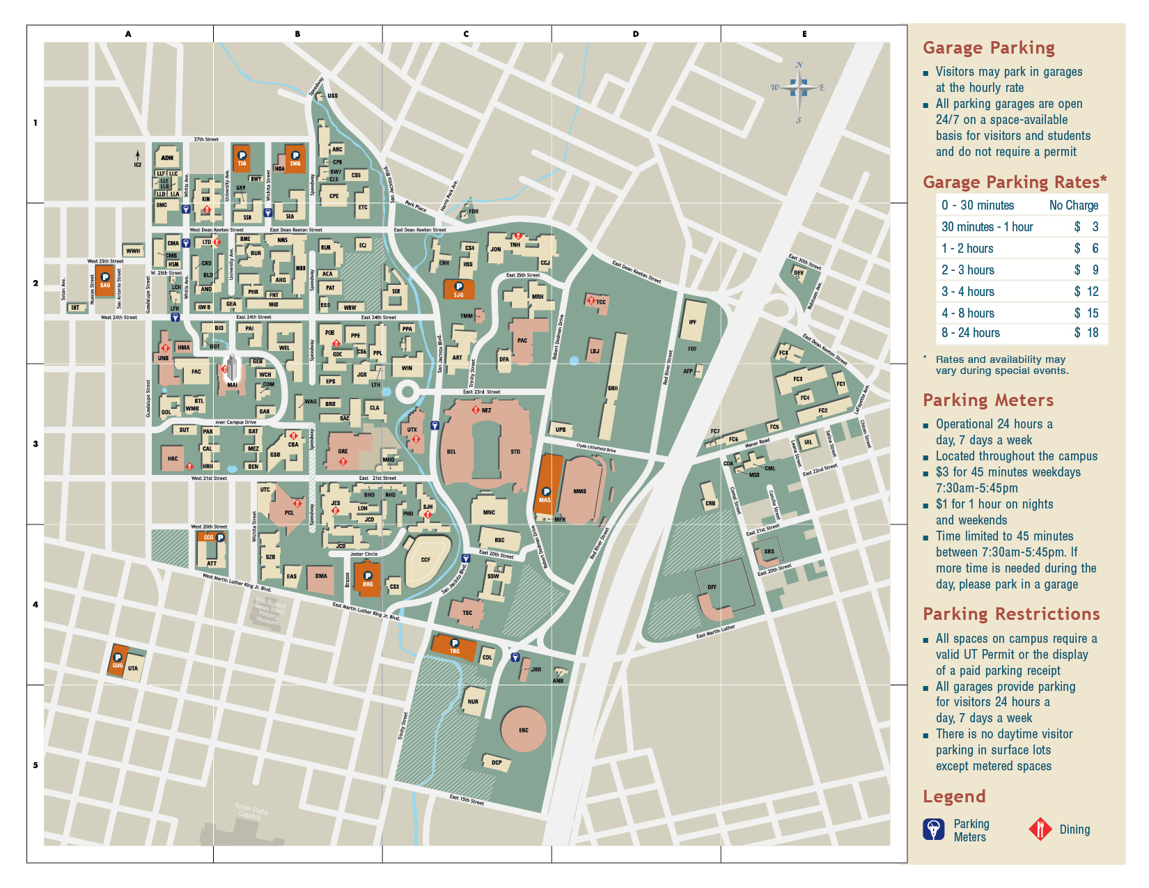 University Texas Austin Campus Map