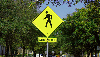 student walking sign